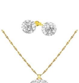 Set gouden ketting & hanger + oorbellen