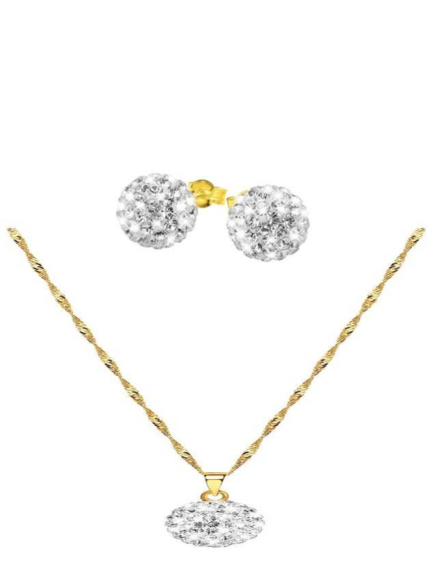 Stijlvolle set gouden ketting & hanger + oorbellen