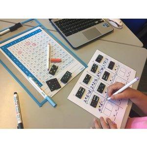 Printblad Sommen met domino