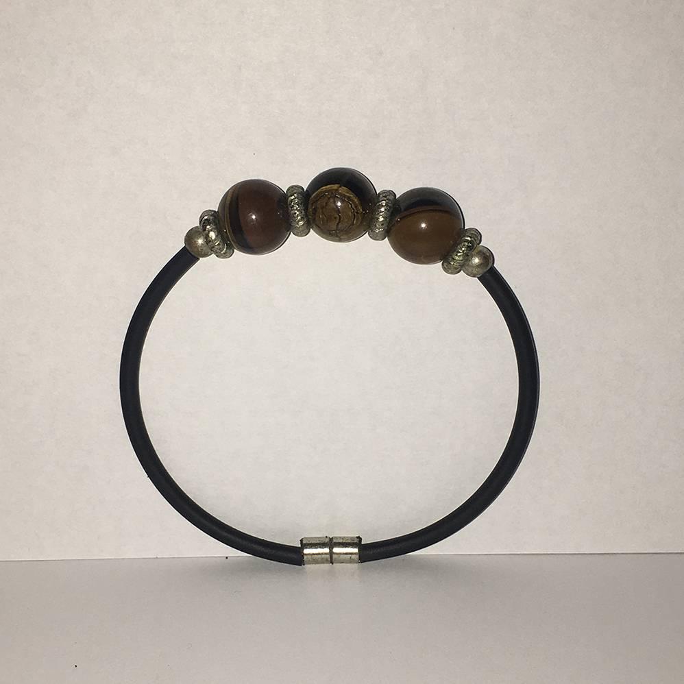 Mandisakura Armband met magneetsluiting - Bruin gemêleerde kralen