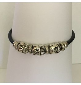 Mandisakura Armband met magneetsluiting - zilverkleurig drie boeddha hoofd