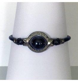 Mandisakura Armband met magneetsluiting - zilverkleurig  met zwarte kraal