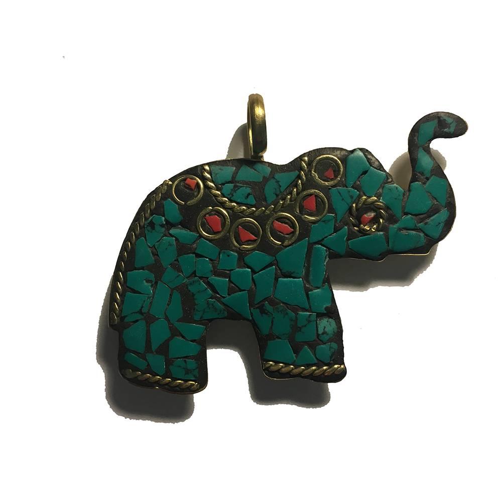 Mandisakura Hanger Olifant - Turquoise of Rood