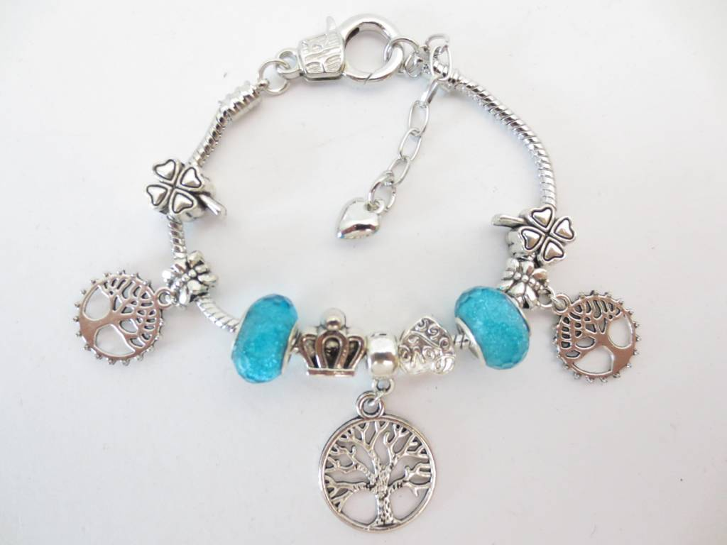Mandisakura Pandora Armband Tree of Life  (blauw en paars)