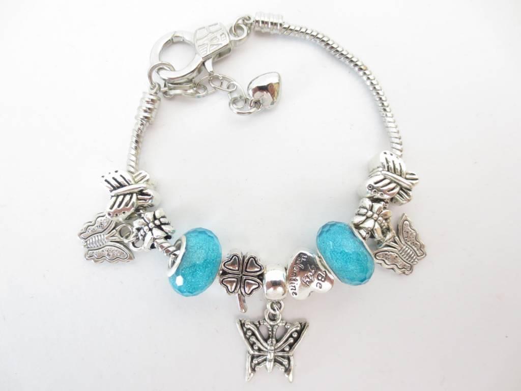 Mandisakura Armband Pandora Vlinder (blauw en groen)