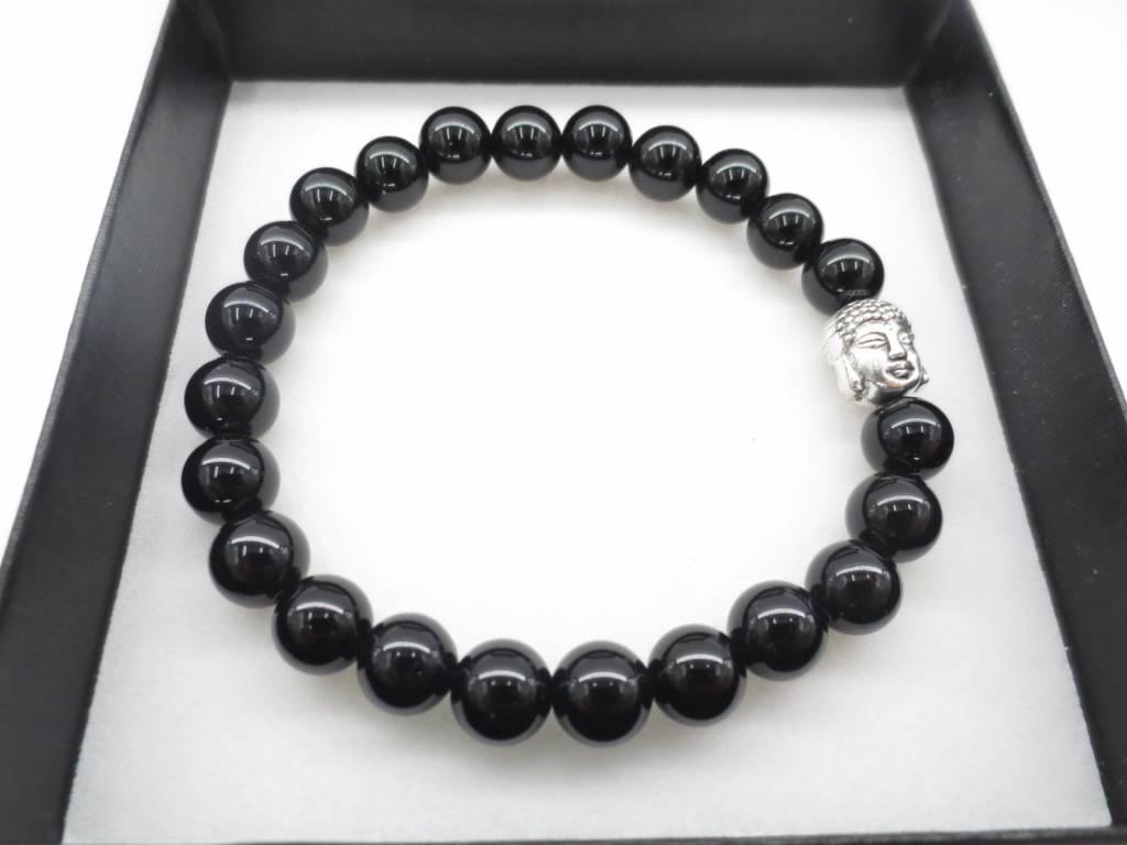 Mandisakura Armband Onyx 7 met Boeddha hoofd