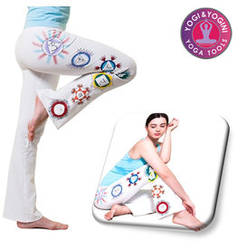 Yoga & Yogini Handgeschilderde chakra broek katoen wit
