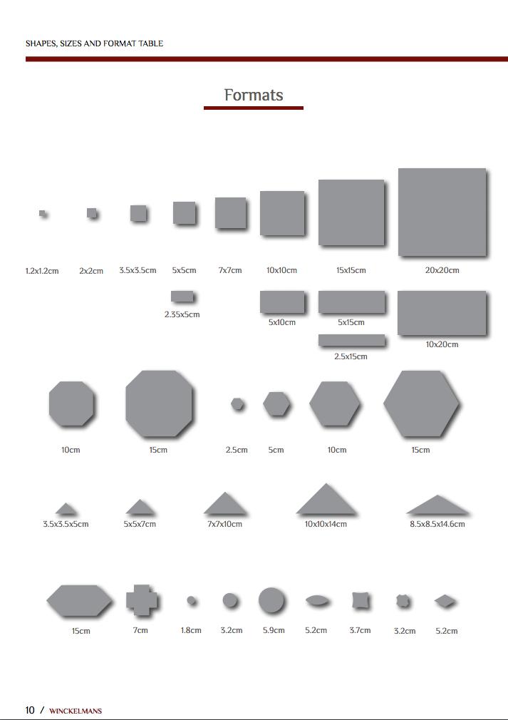 Formaten Winckelmans tegels
