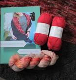 Amilishly Designs Breipakket Wandering Poppy Shawl - Strawberry Cheesecake