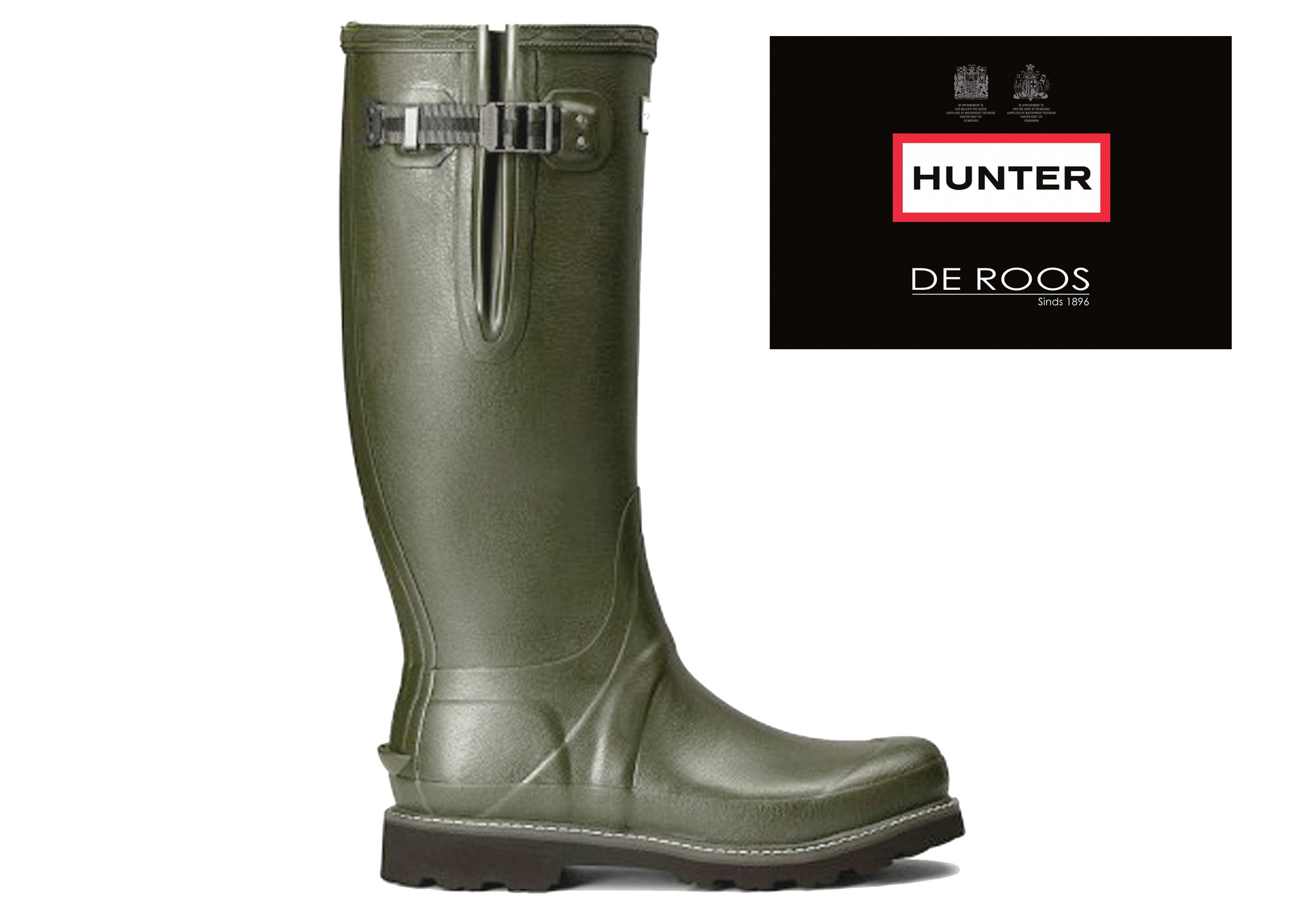 Hunter Boots Dames Hunter Regenlaars Donkergroen (Dark Olive) Womens Balmoral WFT1065RPO Poly Lining