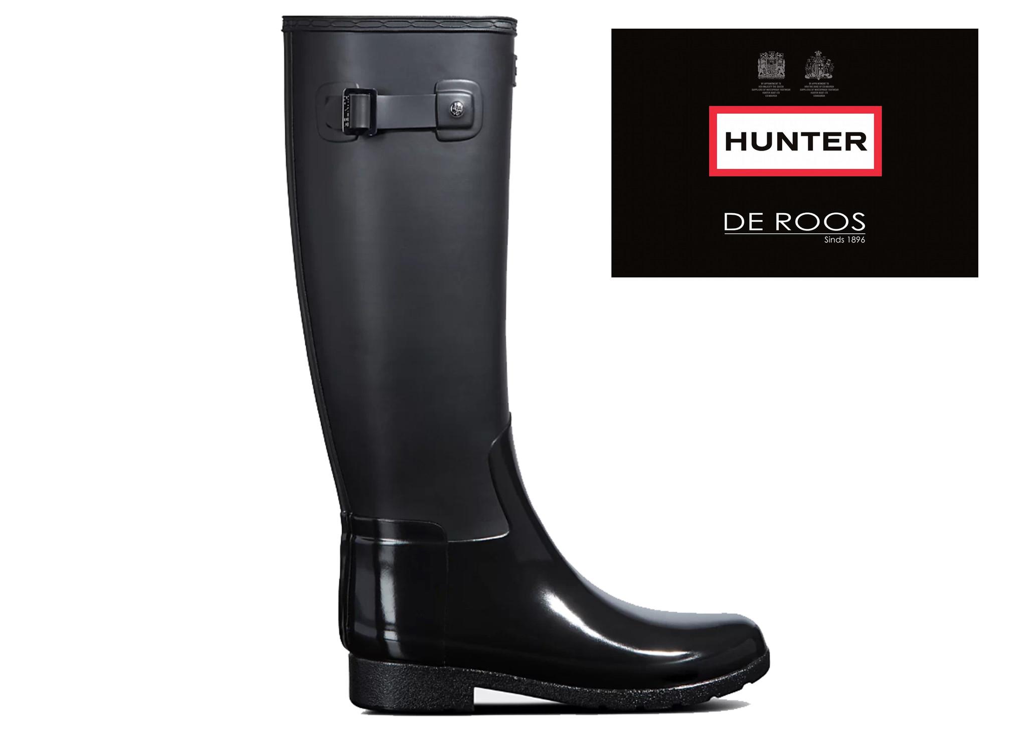 Hunter Boots Dames Hunter Womens Refined Tall Zwart WFT2033DUO-BLK  (Gloss Duo)