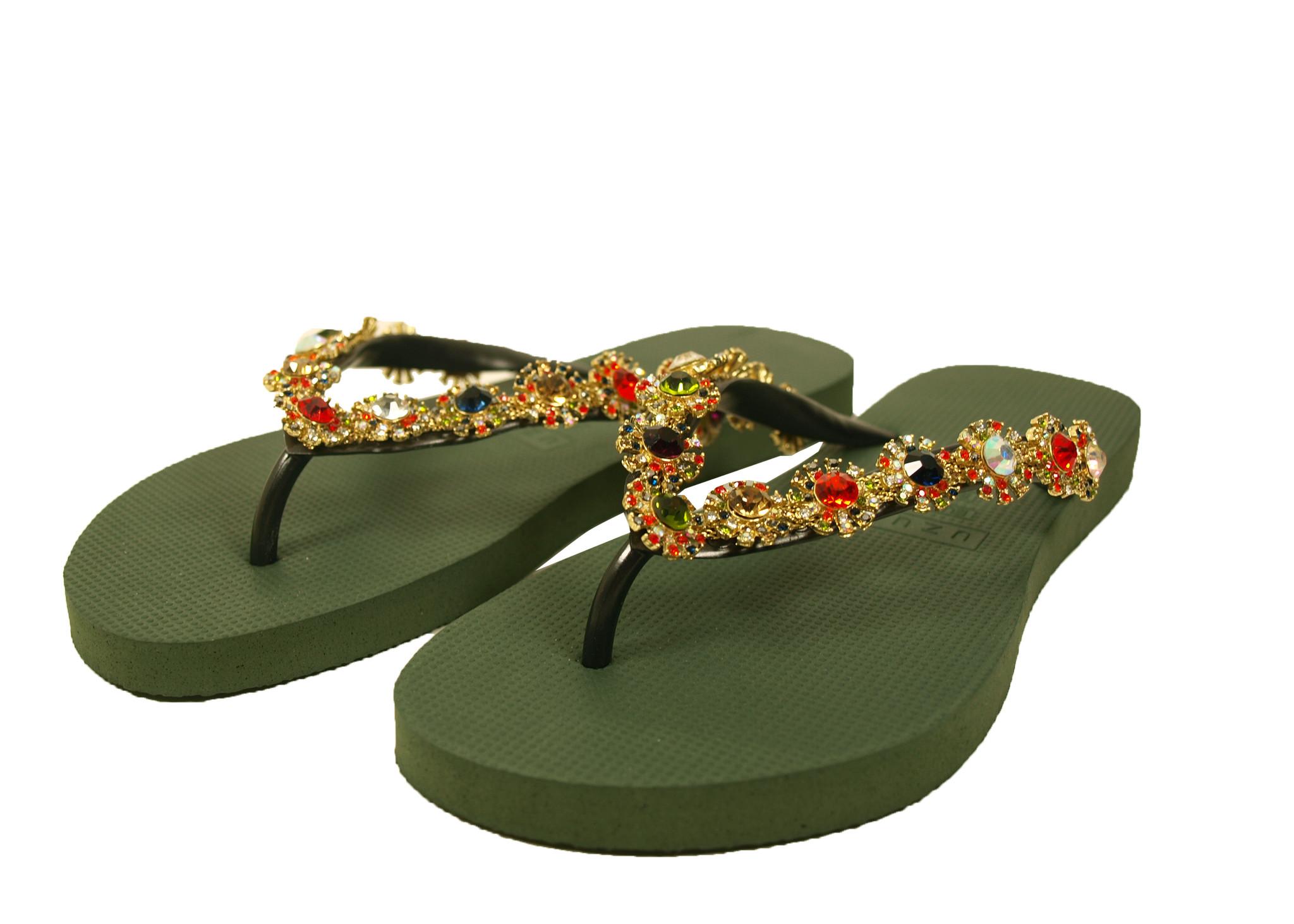 Uzurii Uzurii Luxury Slipper 18.097.08 Groen (Army Green) Colorful Diana