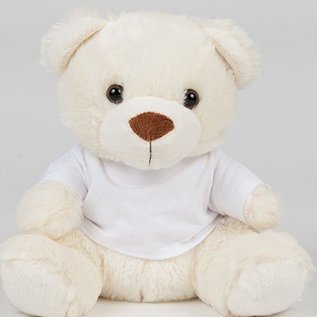mumbles bear in a T-shirt