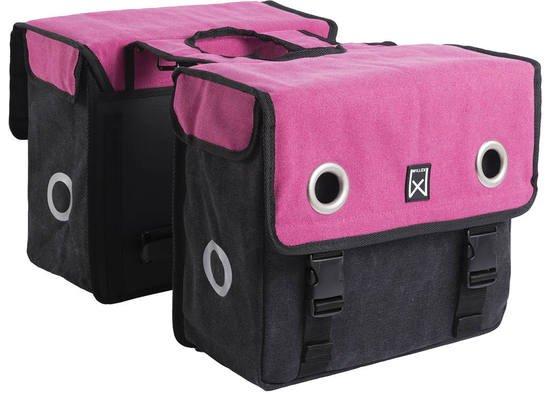 Dubbele fietstas Canvas Tas 30L Roze/zwart kopen met voordeel