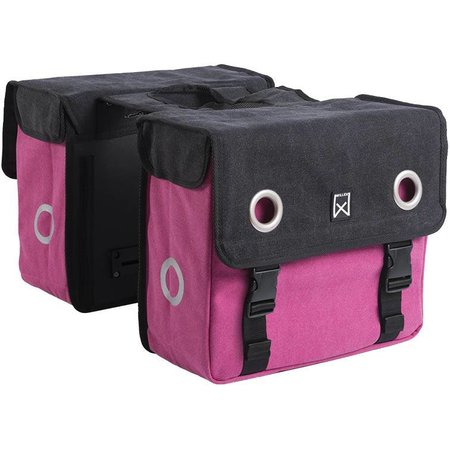 Willex Dubbele fietstas Canvas Tas Zwart/roze - 20 liter