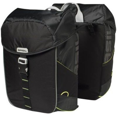 Basil Dubbele fietstas Miles Double bag 32L Black lime