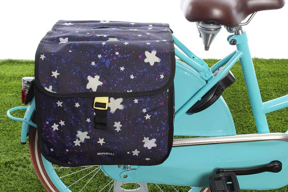b16bb374b00 Basil Kinderfietstas Stardust Double bag Nightshade - Fietstas.com