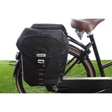 Basil Dubbele fietstas Miles Double bag 32L Black lime