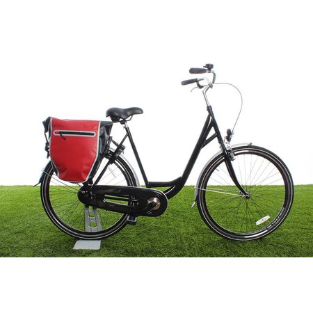 Beck Enkele fietstas DR.Y 20L Matzwart/rood