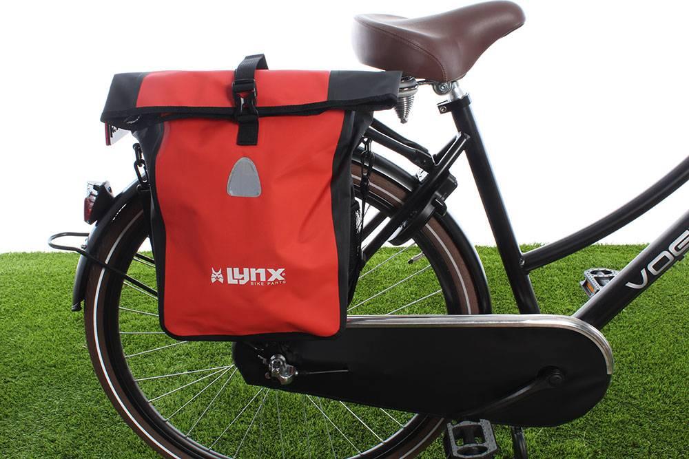 Enkele fietstas Single Pannier bag 21L Rood-zwart kopen met korting
