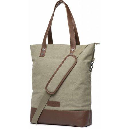 Cortina Oslo Shopper Bag 18L Army green/Brown voor op de voordrager