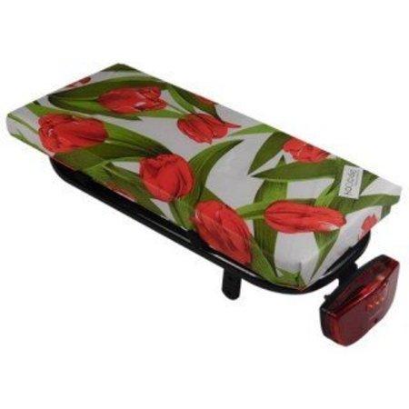 Hooodie Cushie Tulips Red - zacht en fleurig fietskussentje voor op bagagedrager