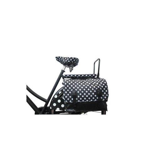 Hooodie Cushie White Small Dots - zacht en hip fietskussentje voor op bagagedrager
