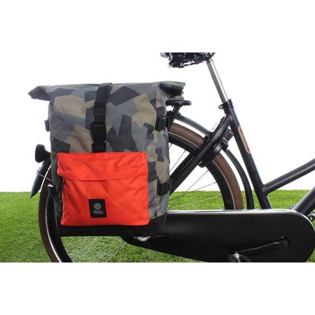 AGU Dubbele fietstas Urban Trend H2O Roll-top 52L Camo Oranje - waterdicht
