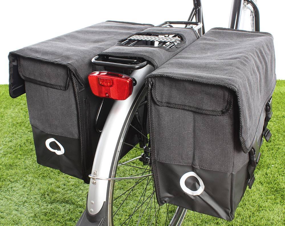 Dubbele fietstas Canvas Tas Plus 48L Zwart kopen met voordeel