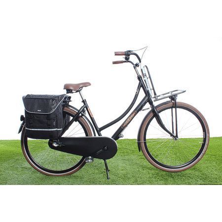 Beck Dubbele fietstas SPRTV Print QR 30L Zwart