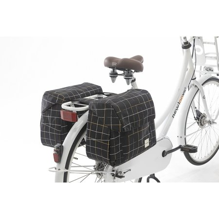 New Looxs Dubbele fietstas Joli Double 37L Check Black