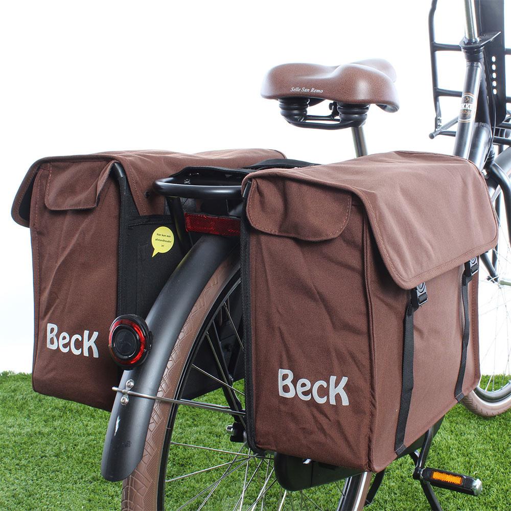 Dubbele fietstas Canvas Small 38L Bruin kopen met voordeel