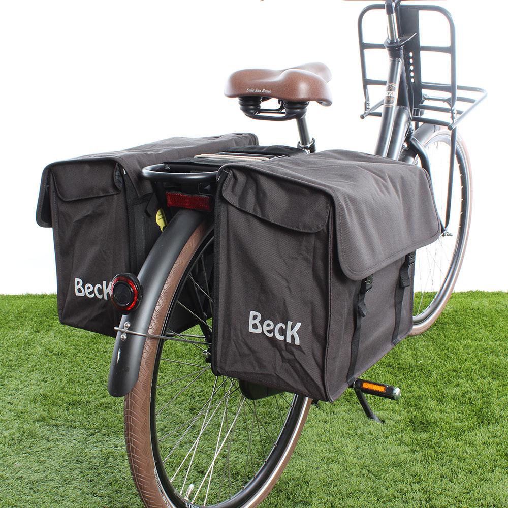 Dubbele fietstas Canvas Medium 48L Grijs kopen met voordeel