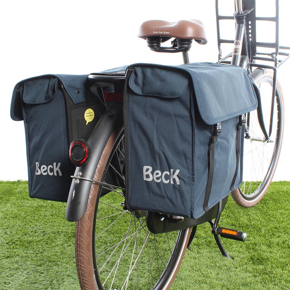 Dubbele fietstas Canvas Small 38L Blauw kopen met voordeel