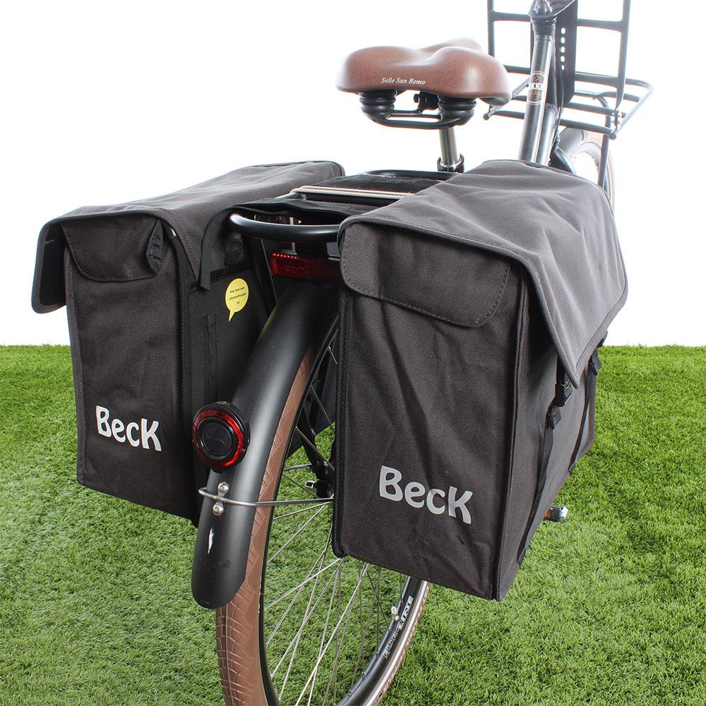 Dubbele fietstas Canvas Small 38L Grijs kopen met voordeel