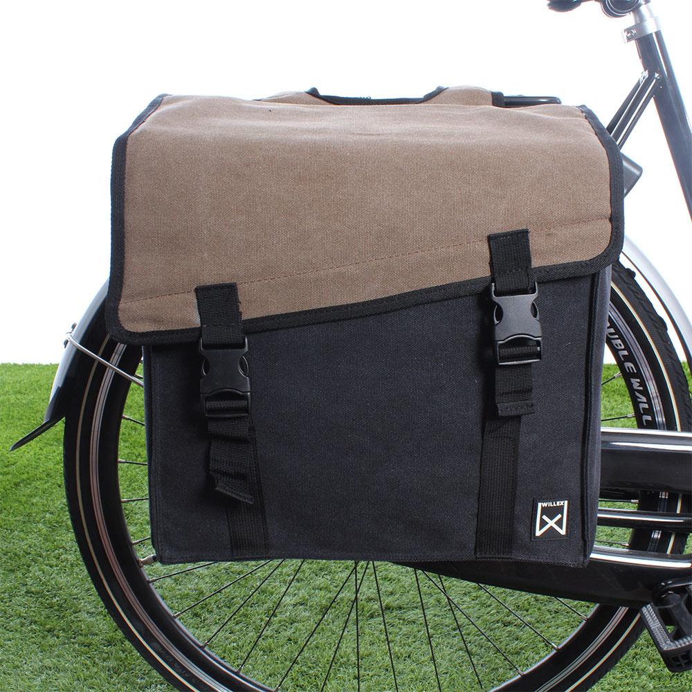Dubbele fietstas Canvas Tas 101 38L Bruin/Zwart kopen met voordeel