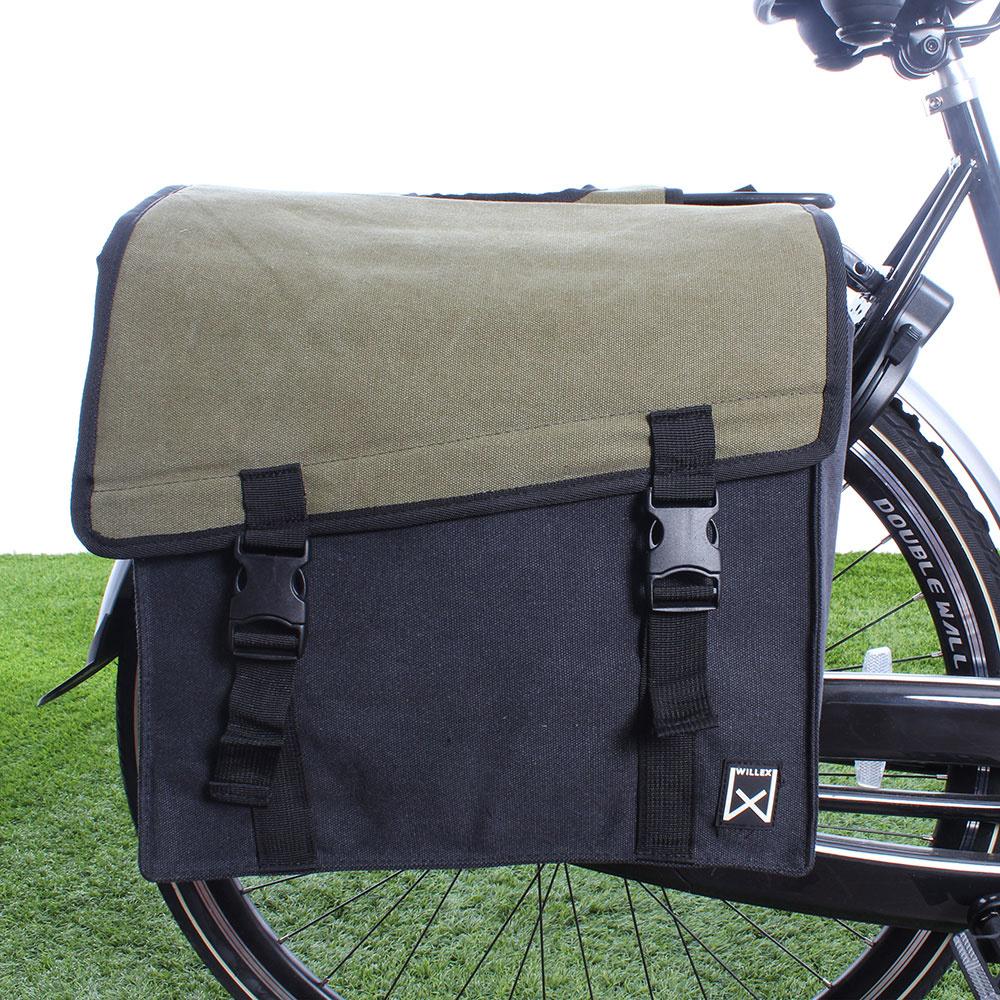 Dubbele fietstas Canvas Tas 101 38L Groen/Zwart kopen met voordeel