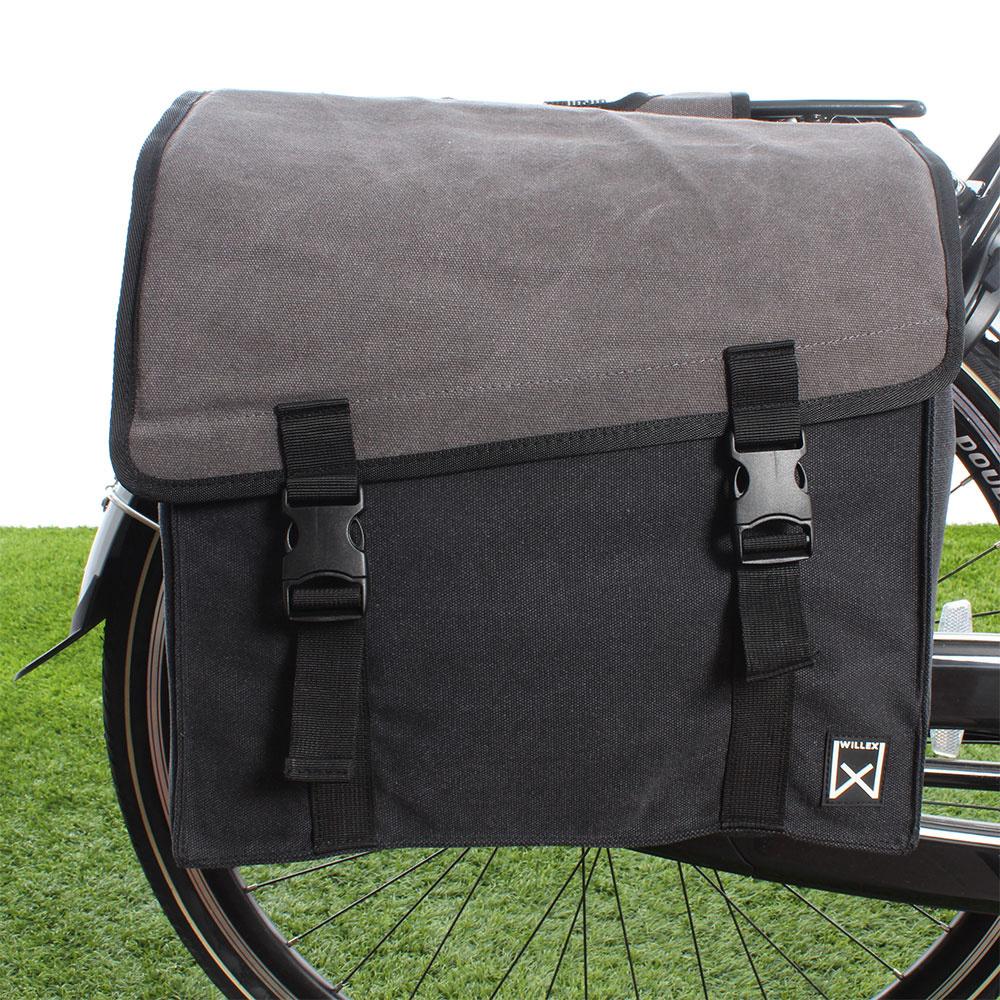 Dubbele fietstas Canvas Tas 101 38L Grijs/Zwart kopen met voordeel