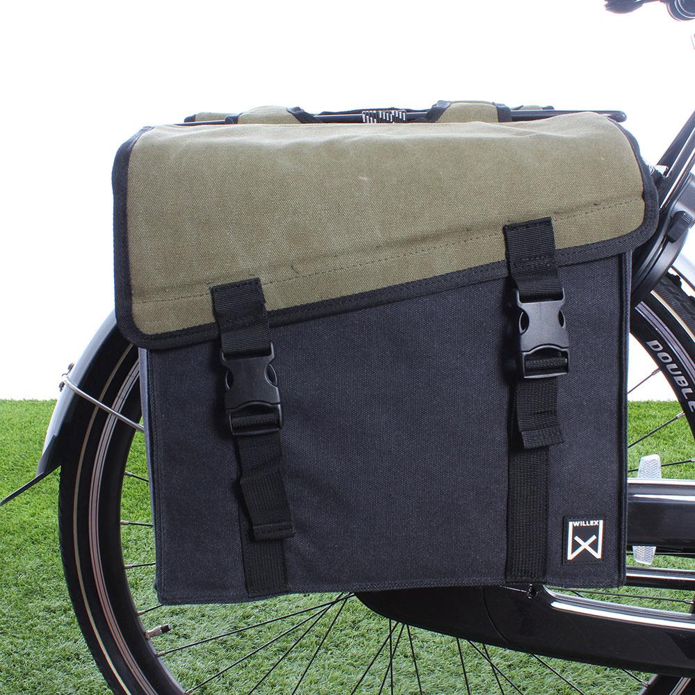 Dubbele fietstas Canvas Tas 101 30L Groen/Zwart kopen met korting
