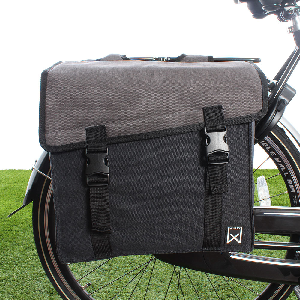 Dubbele fietstas Canvas Tas 101 30L Grijs/Zwart kopen met voordeel