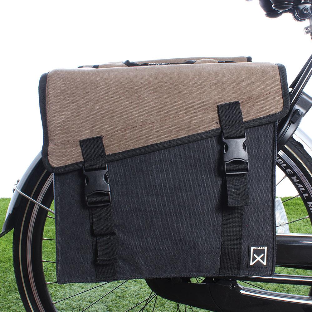 Dubbele fietstas Canvas Tas 101 30L Bruin/Zwart kopen met voordeel