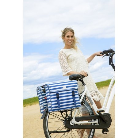 New Looxs Dubbele fietstas Fiori Double 30L Blue Stripe