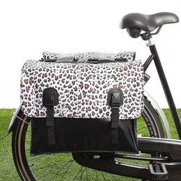 Beck Dubbele fietstas Classic Leopard White