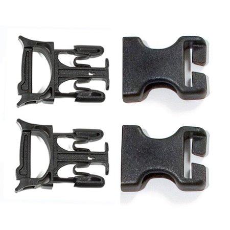 Ortlieb Klikgesp Stealth 25 mm Zwart - Set van twee
