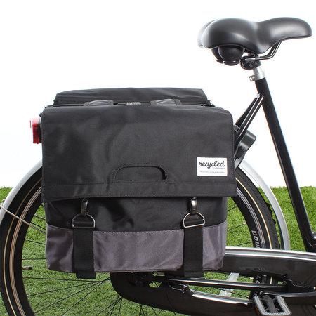 Urban Proof Dubbele fietstas 55L Recycled - Zwart/Grijs