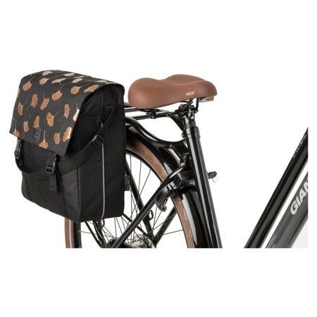 FastRider Enkele fietstas Shopper Ginkgo Trend Zwart 17L