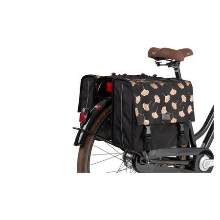 FastRider Dubbele fietstas Ginkgo Trend Mik Zwart33L