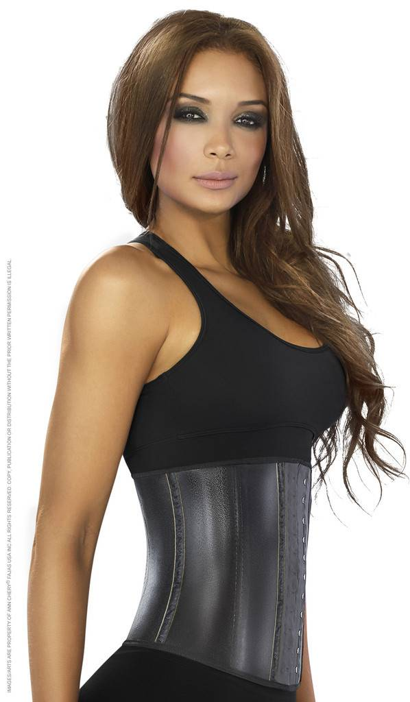 Ann Chery Ann Chery – Waist Trainer Latex zwart Metallic 3-hooks