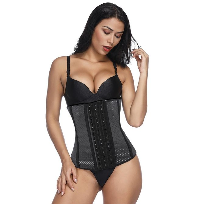 LaFaja LaFaja – Colombian Latex Waist Trainer Black - perforated design - 9 bones -