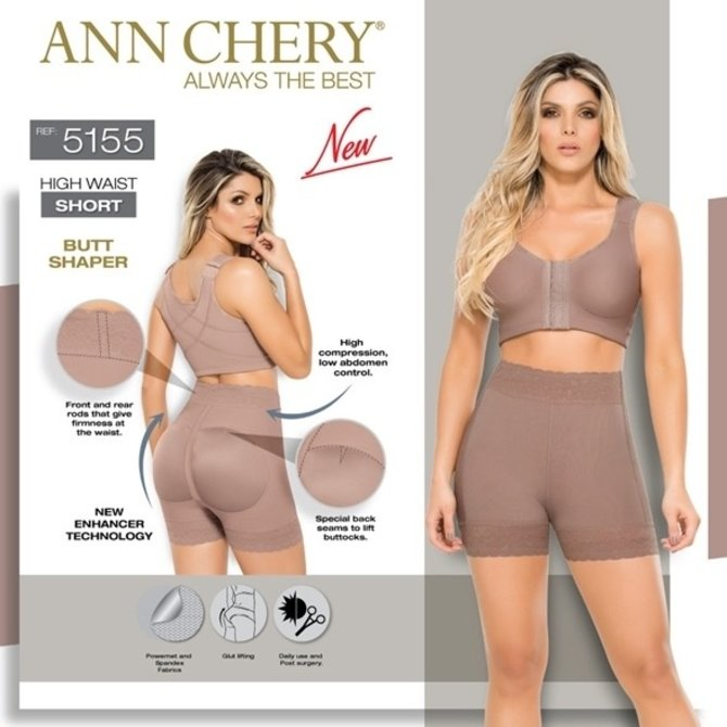 Ann Chery Ann Chery - High waist Short - correcting from waist to legs with renewed butt push up - model 5155 - Color Cacao